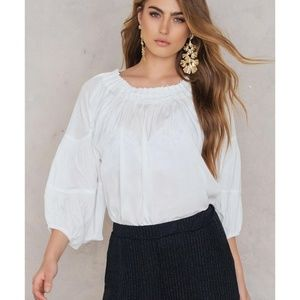 Moon River Pintucked Neck Smocked Neck White Top